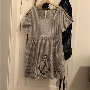 Eshakti grey striped dress with anchor embroidery